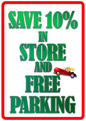 10% and Free Parking